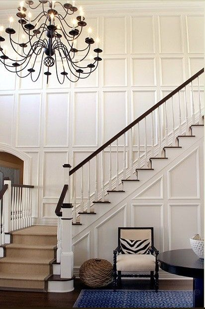 Elsa Soyars: Formal Entryway With White Recessed Panel Wainscotting And  Seagrass Stair Runner.   Good Idea For Stairs Entry Area