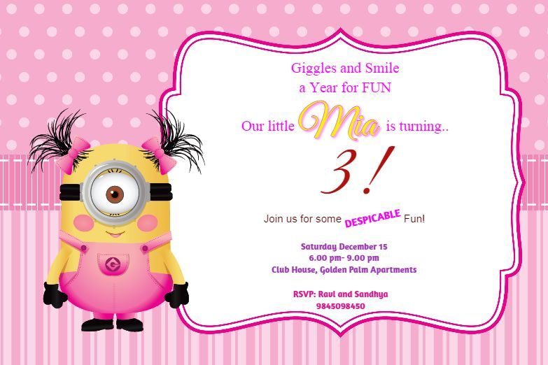 Little Minion Girl Birthday Party Invite Online Birthday