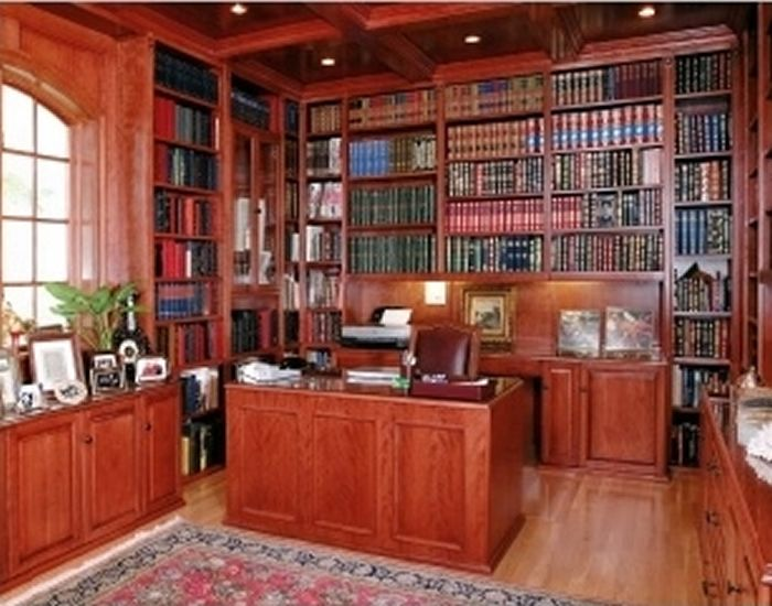 Gracious and Sophisticated Home Office Design with Elegant Wooden ...
