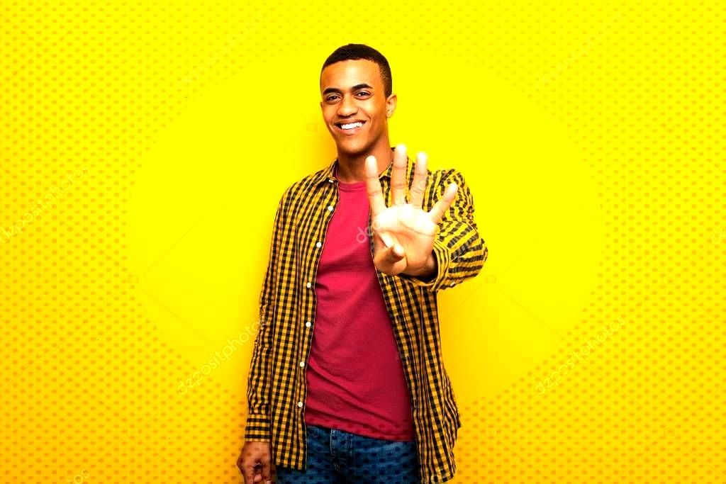 Young Afro American Man Yellow Background Happy Counting Four Fingers - S ,