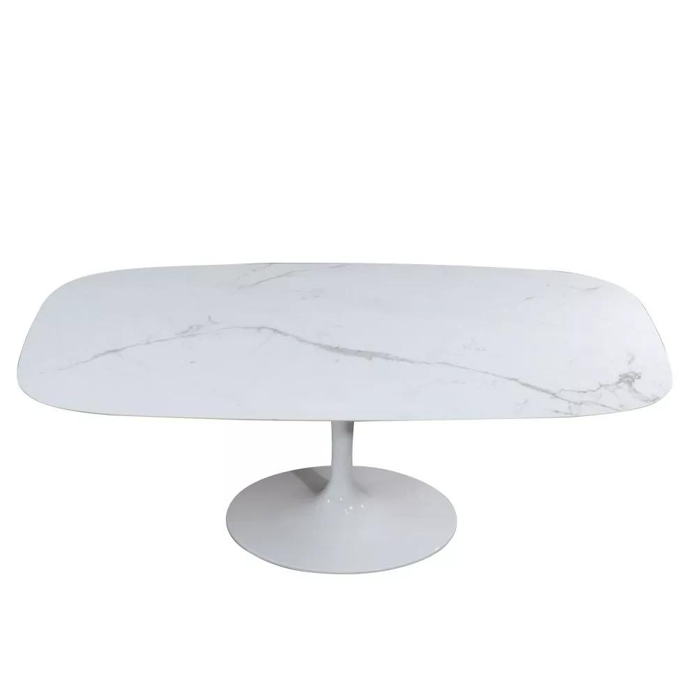 TAVOLO WING con piano ceramica effetto marmo arabescato ...