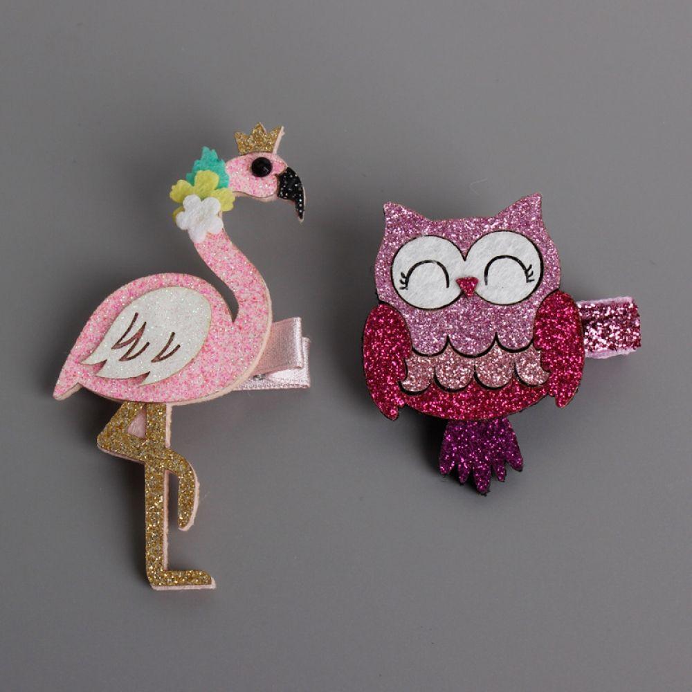 "Filles Handmade Flamingo Glitter 4/"" Bow Clip"