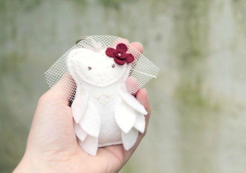 White Wedding Owls // Bride and Groom Felt Plush by OrdinaryMommy, $70.00