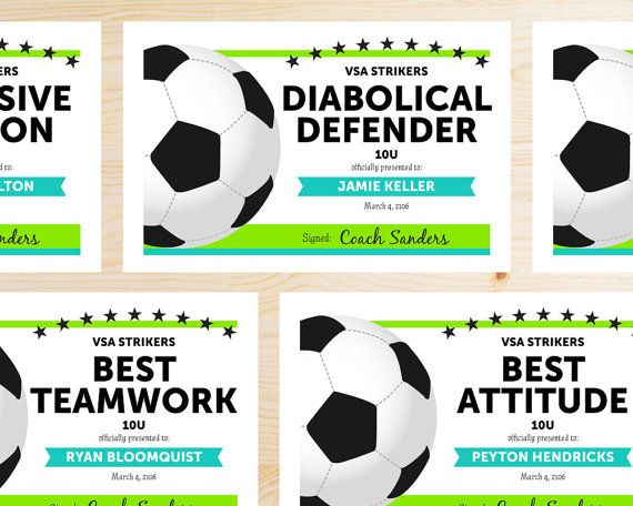 Editable Soccer Award Certificates - Instant Download Printable