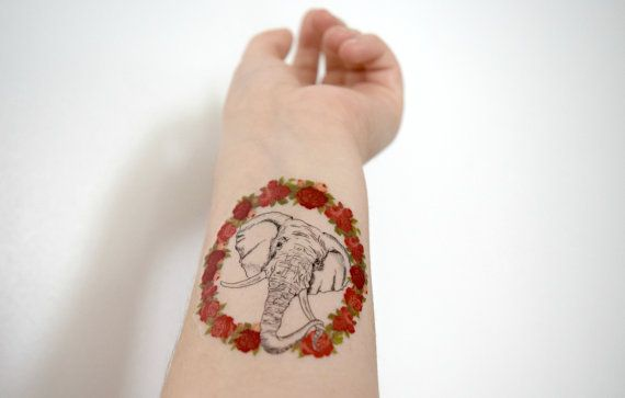 Floral Elephant temporary tattoo - Rose, Frame, Endangerd, Ink, Colourful, Tattoo, Hand drawn, Flowers, Accessories
