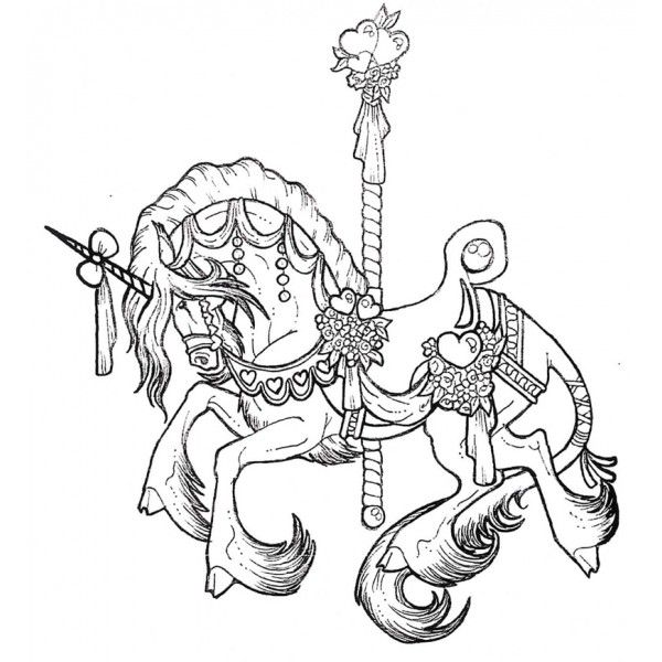 Carousel Unicorn Coloring Pages Sketch Page