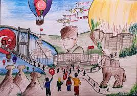 6 Sinif 29 Ekim Cumhuriyet Bayrami Resmi Ile Ilgili Gorsel Sonucu Cizim Resim Sanatsal Baski