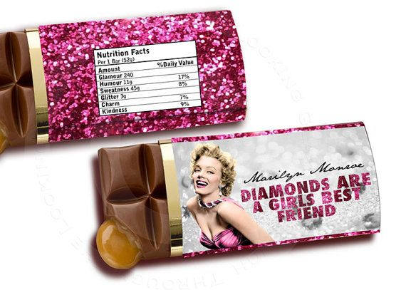 Marilyn Monroe Printable chocolate bar candy label for bridesmaid ...