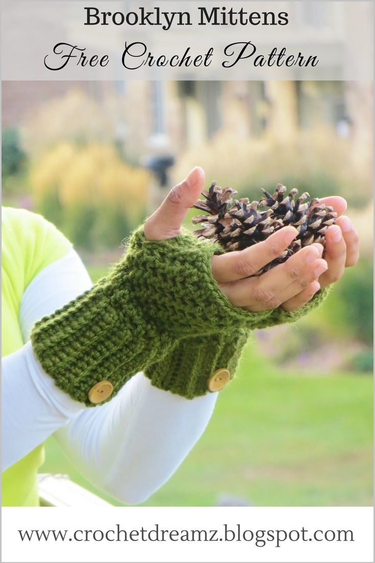 Brooklyn Fingerless Mitts or Wrist Warmers, Free Crochet Pattern ...