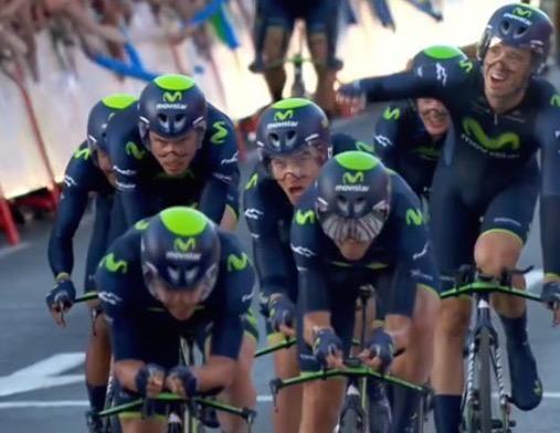 Movistar Team on Twitter: La satisfacción al cruzar la meta. El brazo arriba de Moreno. Las sonrisas. El deber cumplido. ¡¡ENORMES!! #LaVuel...