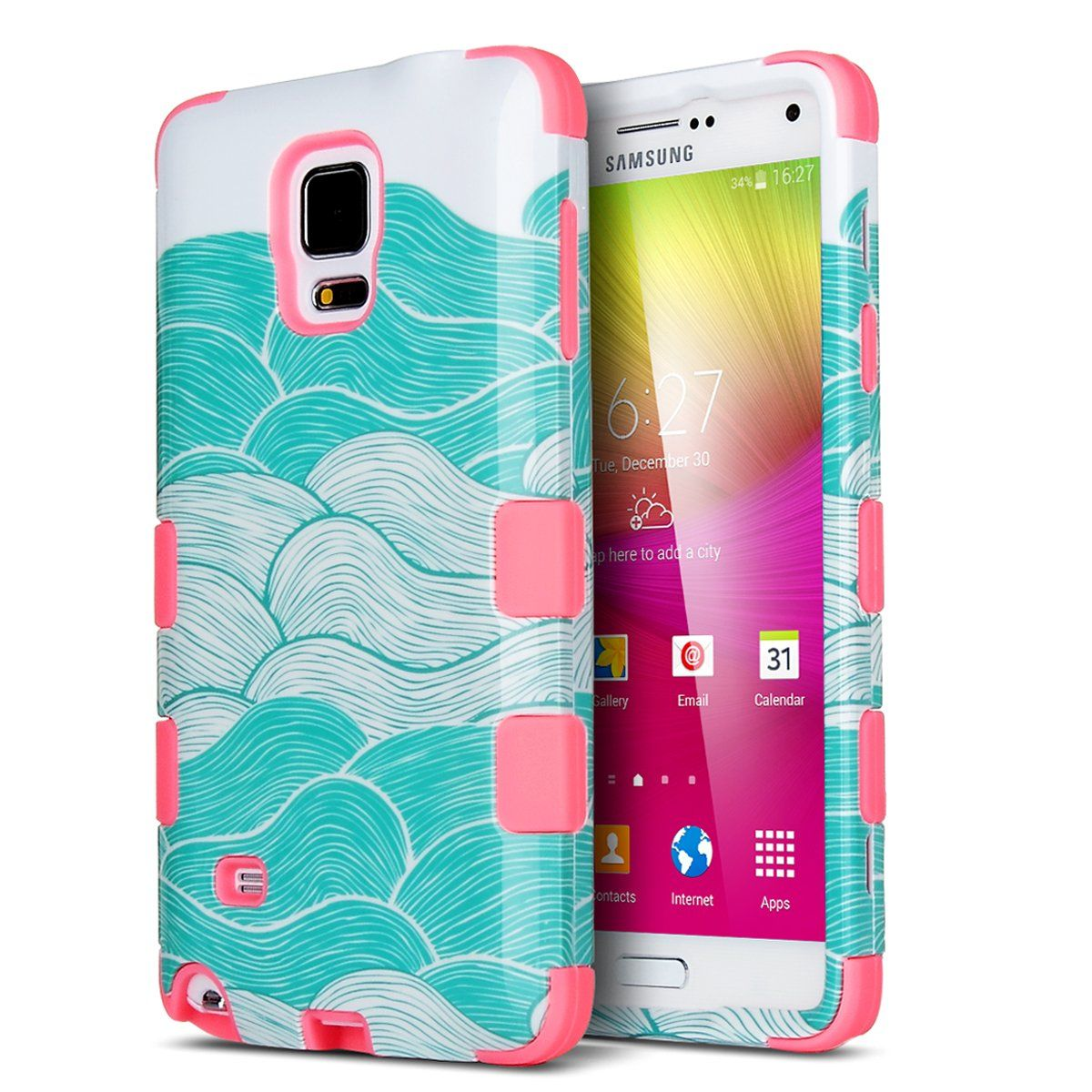 AmazonSmile: Note 4 Case,Galaxy Note 4 Case,ULAK Note 4 Hybrid Case (plastic+Slicone) Protective Case for Samsung Galaxy Note 4 with Shock Absorbing and Scratch Resistant Perfect 3 in 1 Starry Night Wave Water Red Slicone: Cell Phones & Accessories