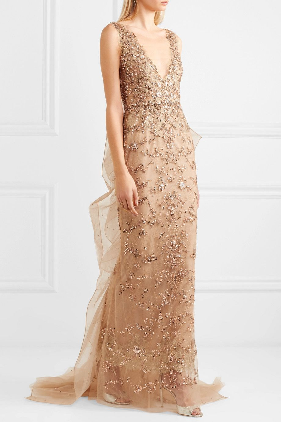 Marchesa | Embellished tulle and mesh gown | NET-A-PORTER.COM | gown ...