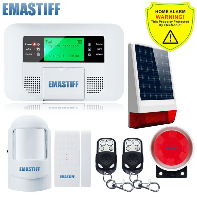 Free Shipping Wireless Solar Powered Strobe Siren Security Home Lcd Menu Screen Gsm Pstn Alarm System Russian Spanish English Affil Strobing Solar Solar Power
