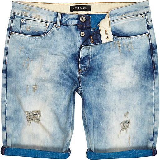 Light wash ripped bleached denim shorts - shorts - sale - men ...