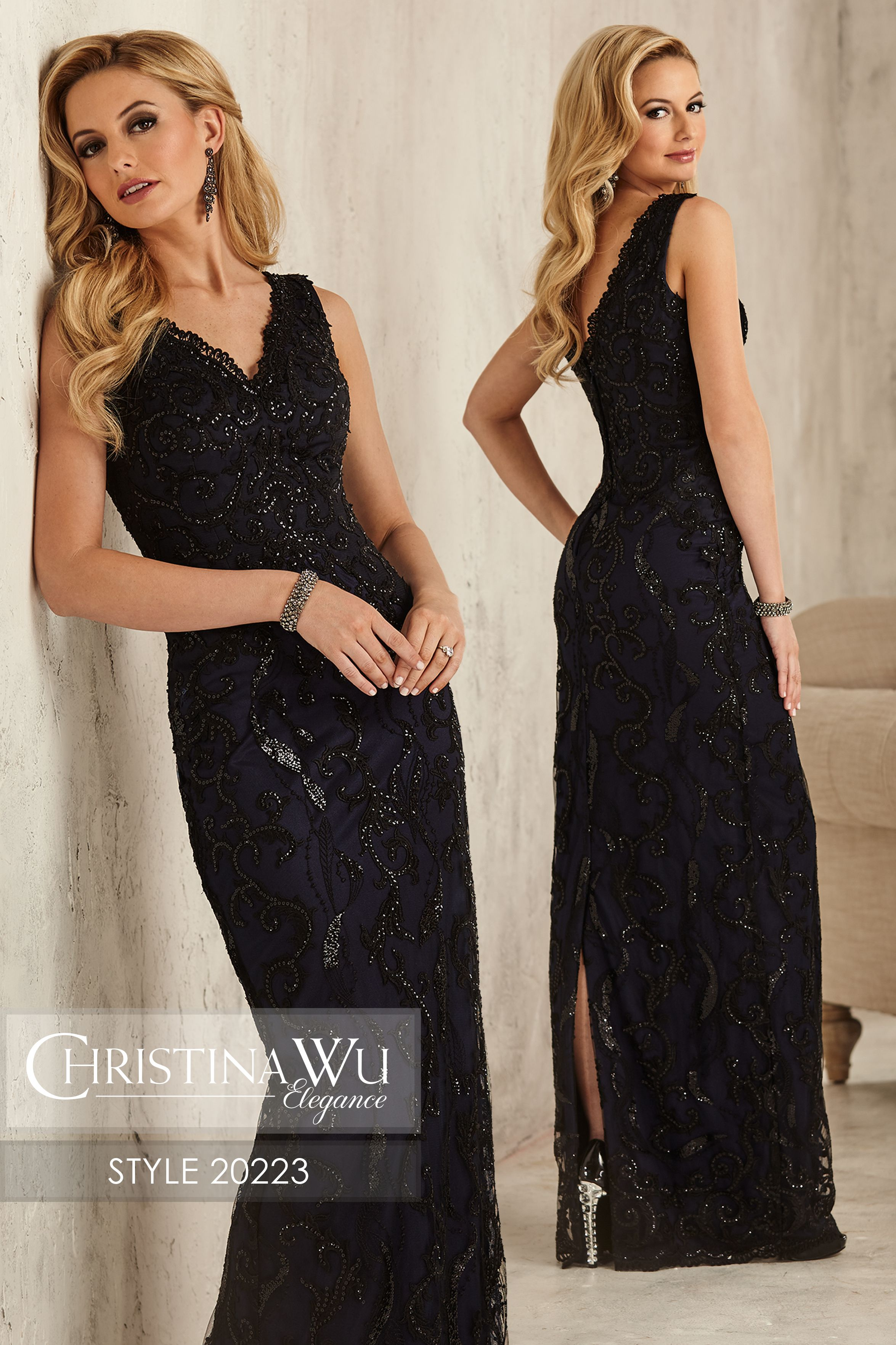 V neck black lace dress  ChristinaWuElegance Style  Embroidered and beaded black lace