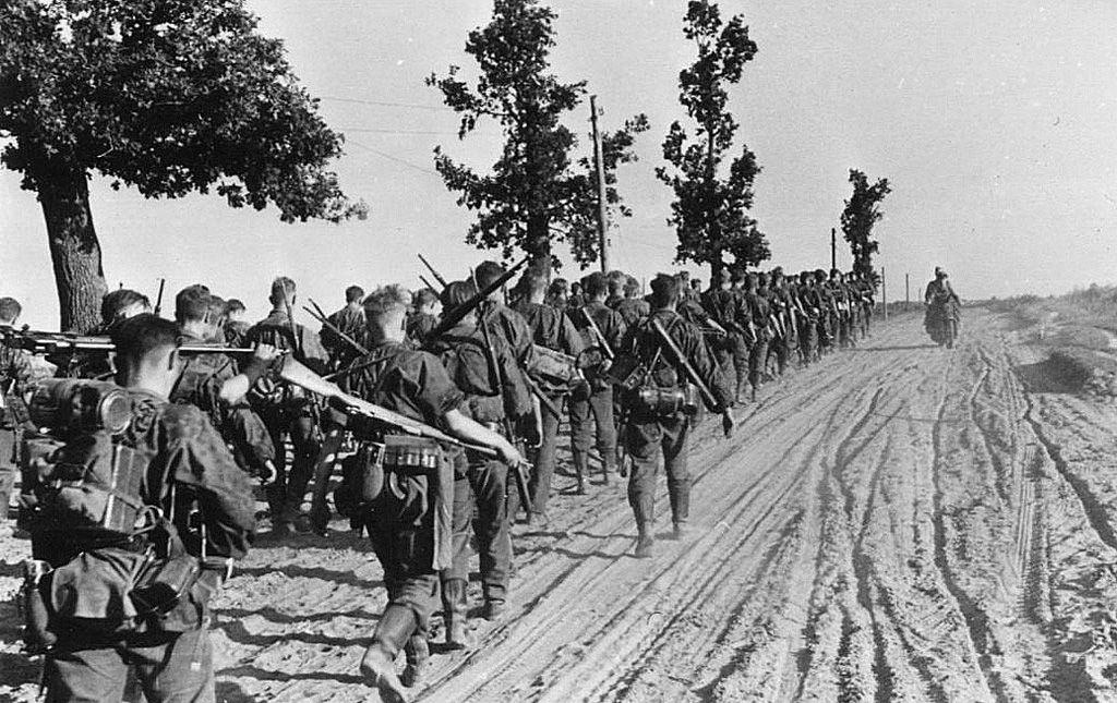 The drive east. Leibstandarte troops march in the southern sector of the Russian Front in the summer of 1941.