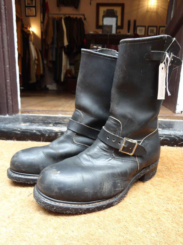 42f6399d7b Vintage black leather engineer boots Walker round toe motorcycle biker  rockabilly corded sole steel toe cap buckles US 11.5 UK 10.5 | Vintage  menswear ...