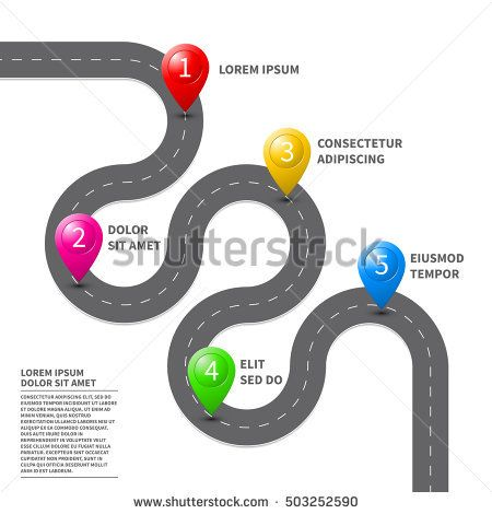 Pathway Roadmap With Route Pin Icon On The Way Track Vector Top