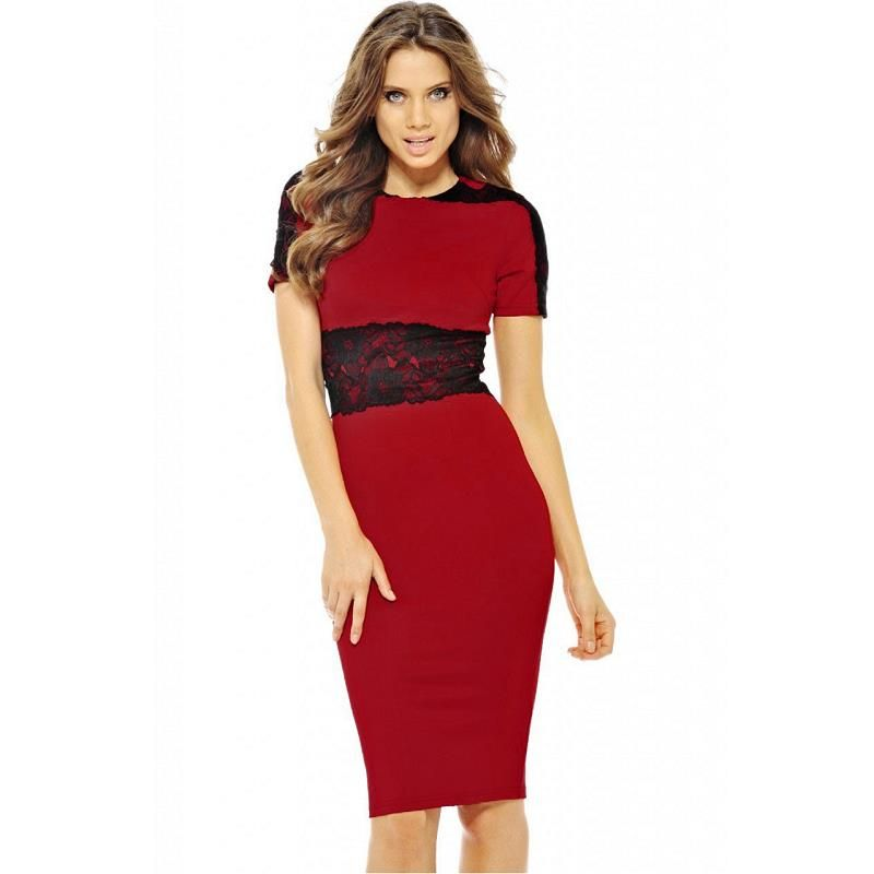 Woman · MFDRESS Women OL Lace Patchwork Pencil Dresses Short Sleeve ... e99c30a735a0