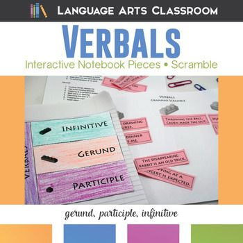 Verbals Interactive Notebook Pieces and Scramble: 20 practice sentences for gerunds, participles, and infinitives..