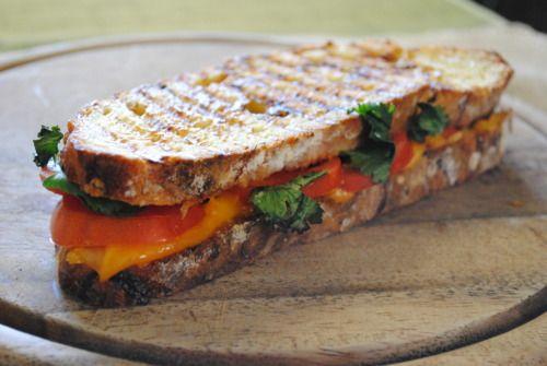 CTC: cilantro, tomato, & cheddar panini on double jalapeno jack bread.