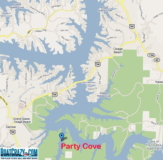 Map Of Party Cove Lake The Ozarks Mo