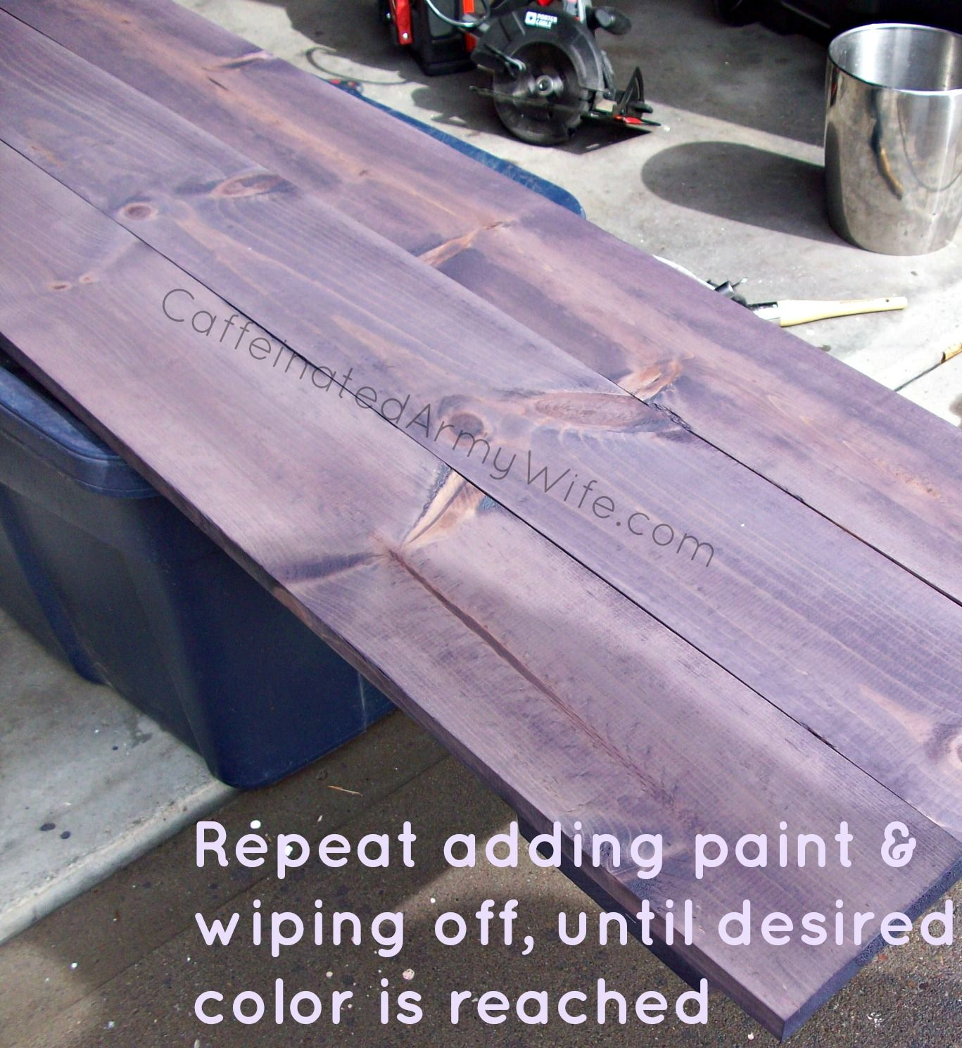 New Headboard And Whitewashing With Color Caffeinated Army Wife Color Washed Wood Purple Wood Stain Staining Wood