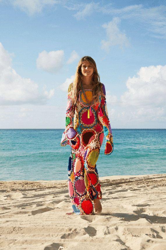 6e5c087c4da Crochet vestido Boho ganchillo Hippie vestido bohemio ropa de verano para  mujer algodón largo vestido Maxi sol playa vestido de fiesta