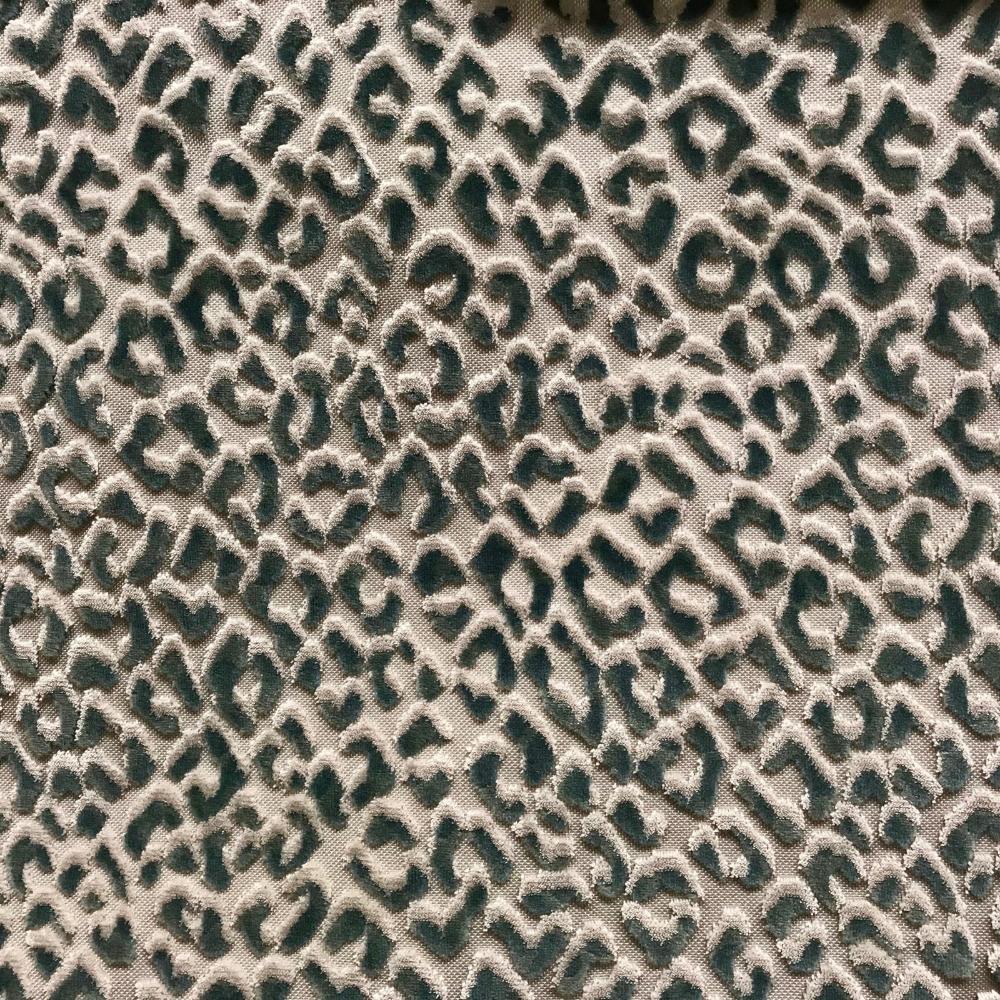 Ocelot, Jade Animal Velvet Upholstery Fabric #velvetupholsteryfabric Ocelot, Mineral | Cut velvet animal print home decorative fabric for upholstery and accent furniture. #velvetupholsteryfabric