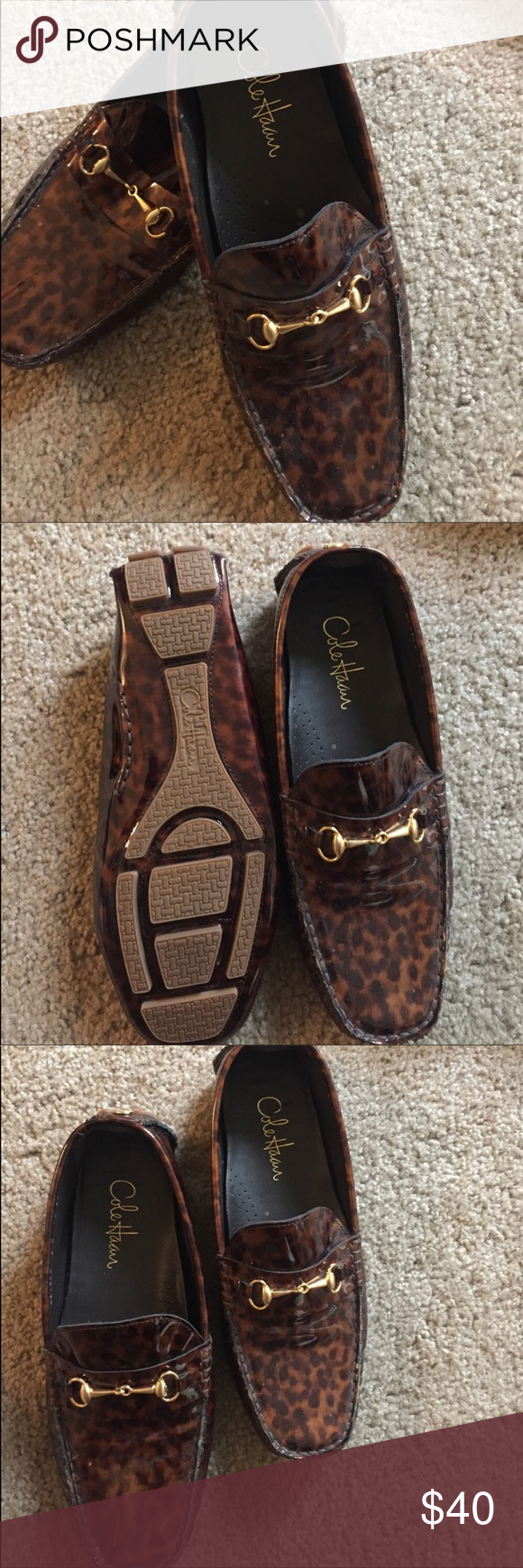 Cole Haan Leopard Penny Loafers