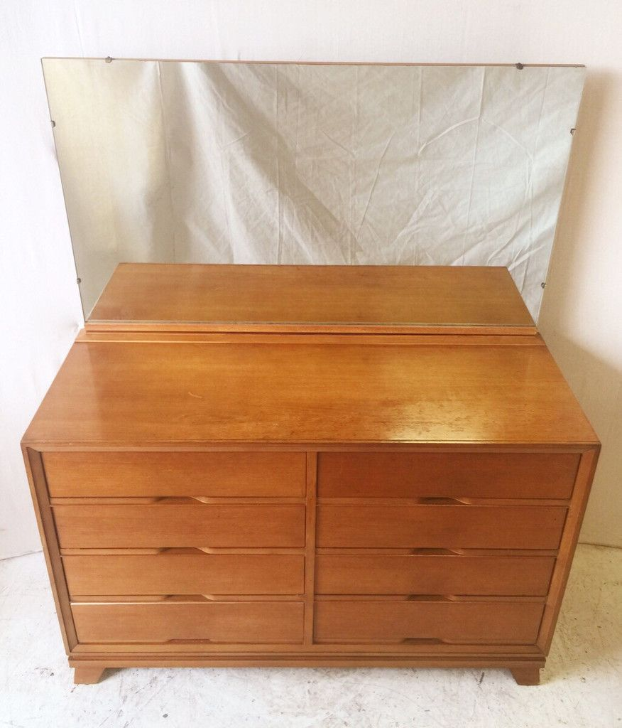 Vintage Rockline Beaver Furniture Co 8 Drawer Walnut Dresser With Upper  Tilt Mirror And Dovetail Joints
