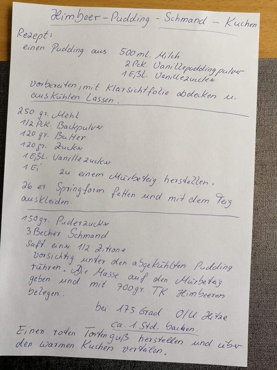 Himbeer-Puddingschmandkuchen - Hynes&Becherkuchen