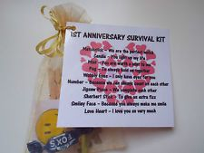 Anniversary 1st 10th 15th 20th 25th Novelty Survival Kit Gift Keepsake Present Survival Kit Gifts Survival Gift Survival Kit