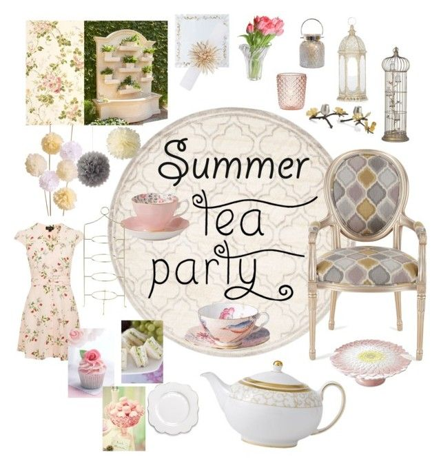 """Summer tea Party"" by jhosszu-i ❤ liked on Polyvore featuring interior, interiors, interior design, home, home decor, interior decorating, Safavieh, Topshop, Fountain and Royal Albert"