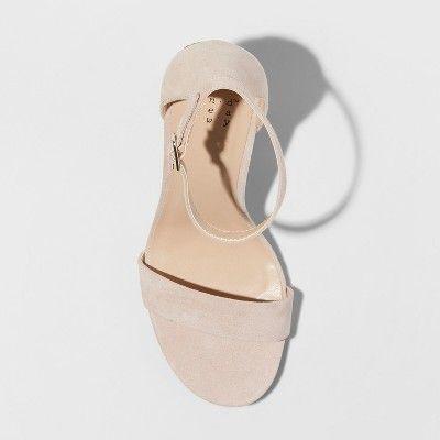 1e92b90d93a1 Women s Ema Glitter Satin Wide Width High Block Heel Pump Sandal - A New Day  Rose Gold 6.5W