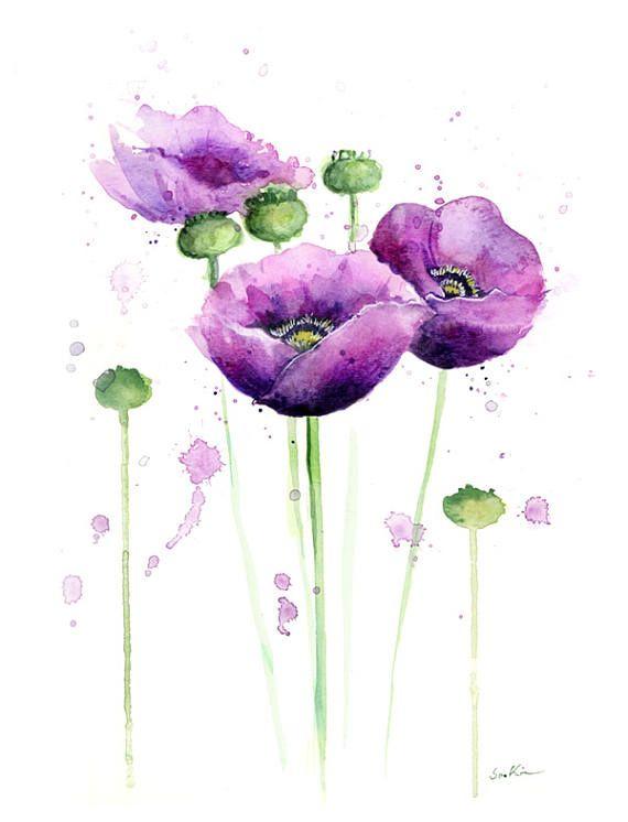 Watercolor Flowers Print Purple Anemone Flowers Watercolor Flower Prints Watercolor Flowers Paintings Watercolor Flowers Tutorial