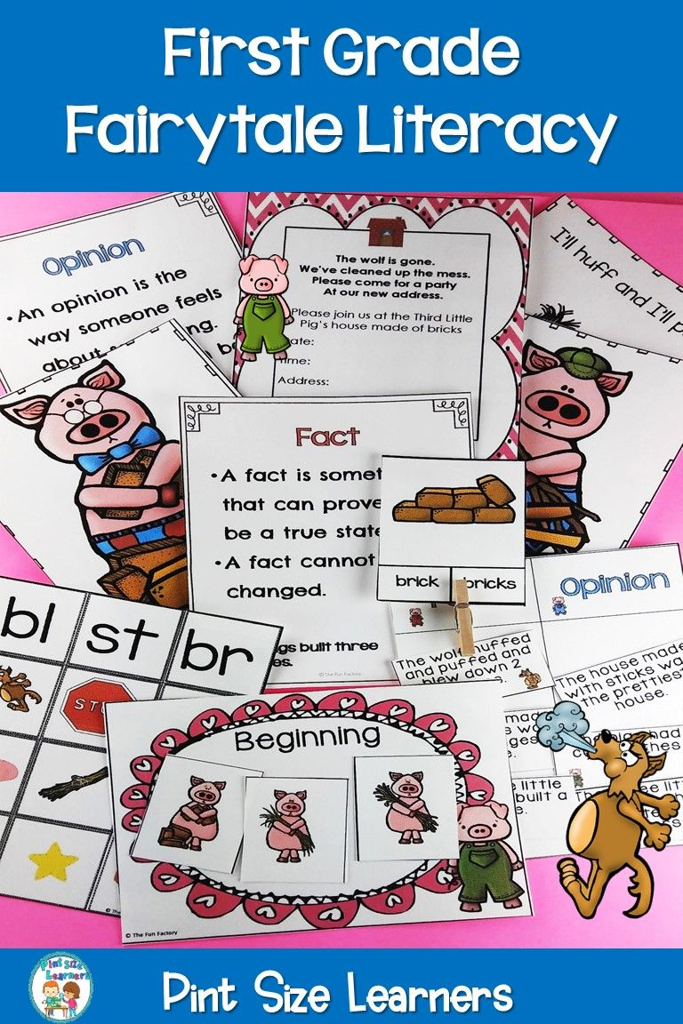 The Three Little Pigs fairy tale literacy unit for first grade is a fun and  engaging way to practice literacy sk…   1st grade activities [ 1152 x 768 Pixel ]