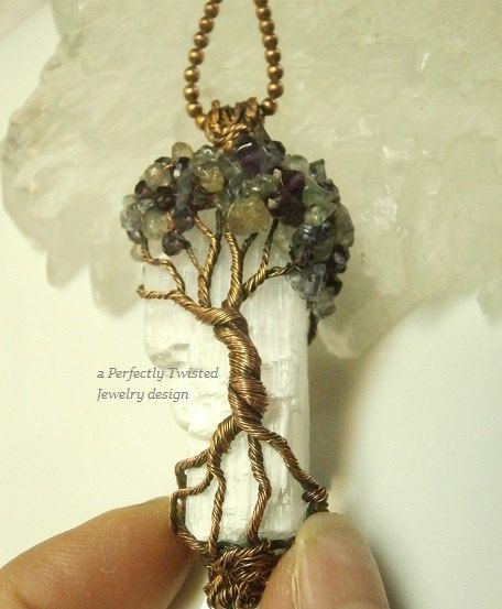 RESERVED Wire Wrapped Mystic Tree of Life Pendant, Amethyst, Iolite ...