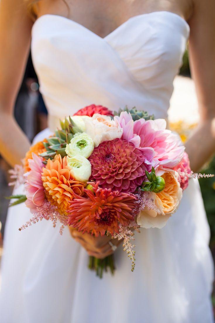 Photo: Mon Petite Studios #wedding #bridalbouquet #bouquet #coral #pink #tangarine #flowers #dahlias #seacoast #newhampshire #newengland