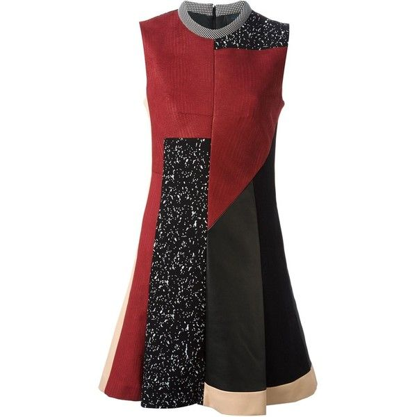 Proenza Schouler Patchwork Skater Dress (£1,420) ❤ liked on Polyvore featuring dresses, multicolour, print skater skirt, patterned skater skirt, skater dress, patchwork dresses and proenza schouler dress