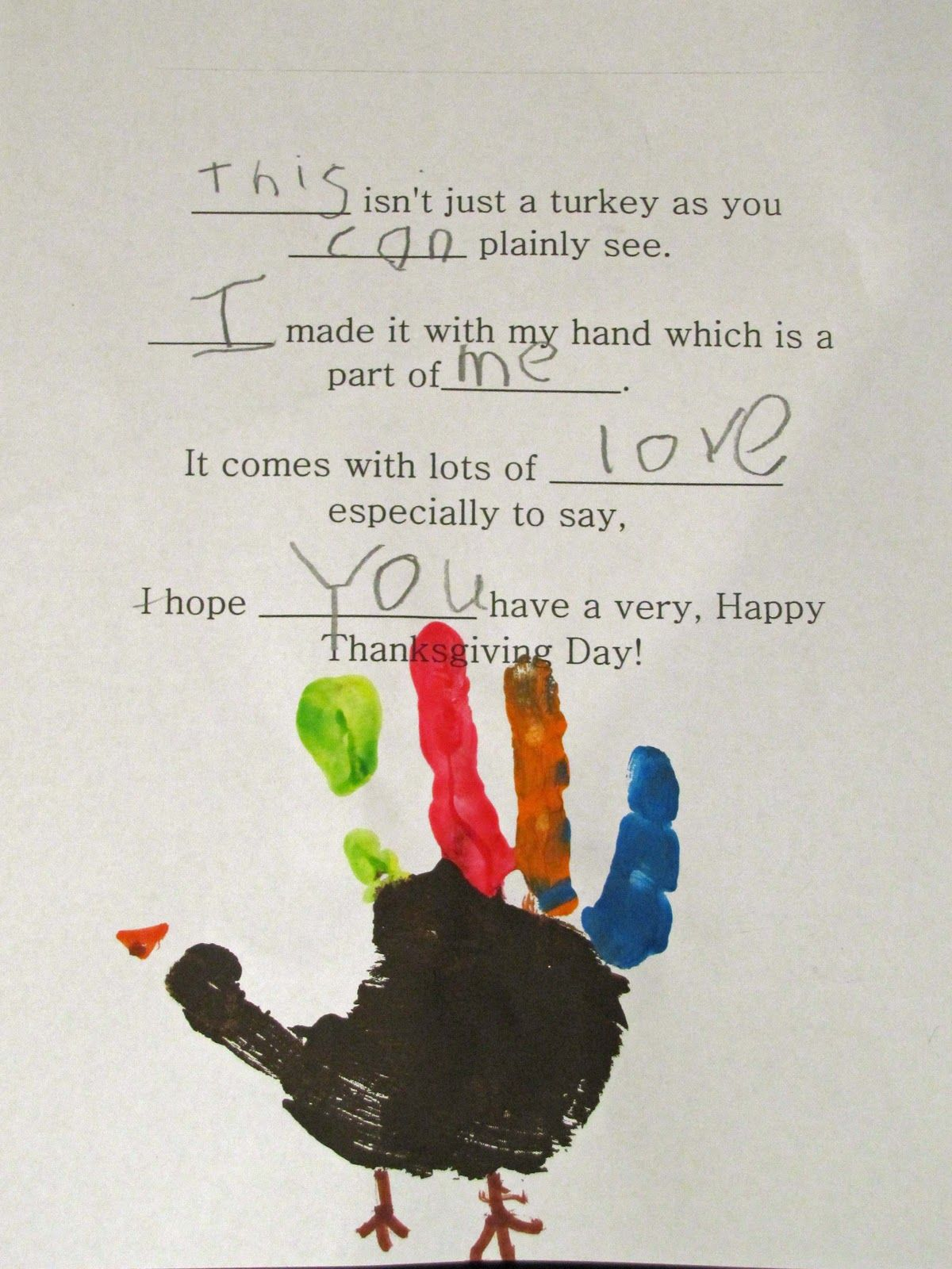 Turkey Handprint Keepsake Amp Poem