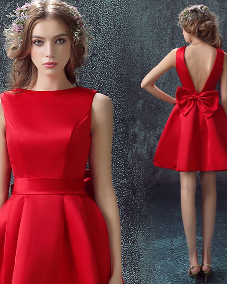 Robe de cocktail en satin rouge