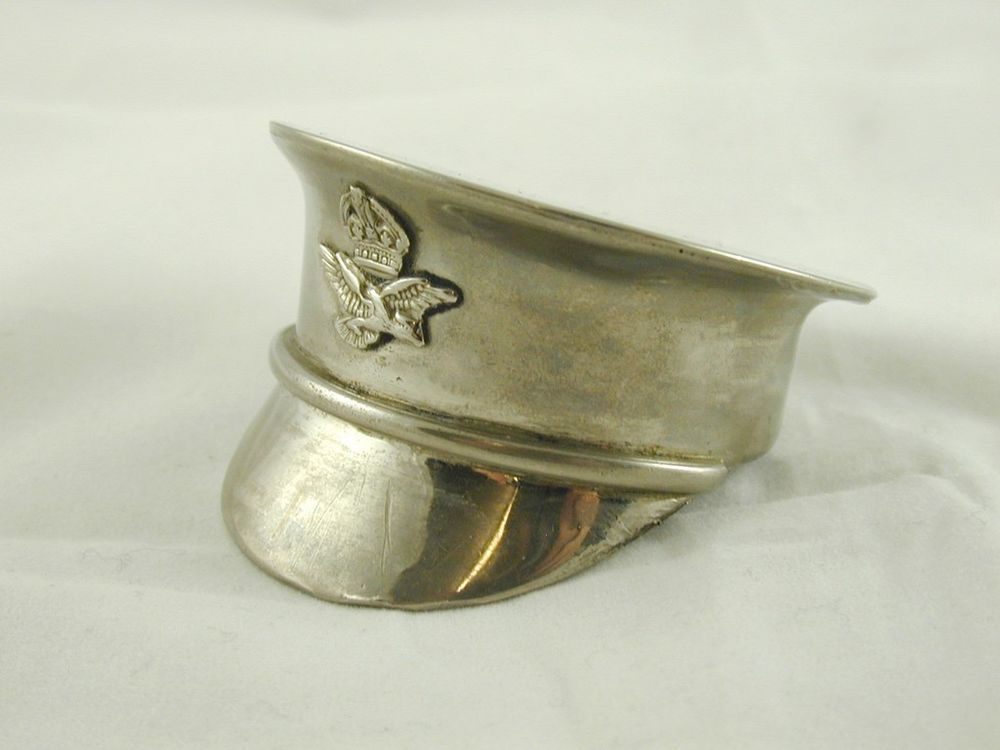 ART DECO SNUFF BOX SILVER PLATE HAND CRAFTED MILITARY OFFICERS HAT