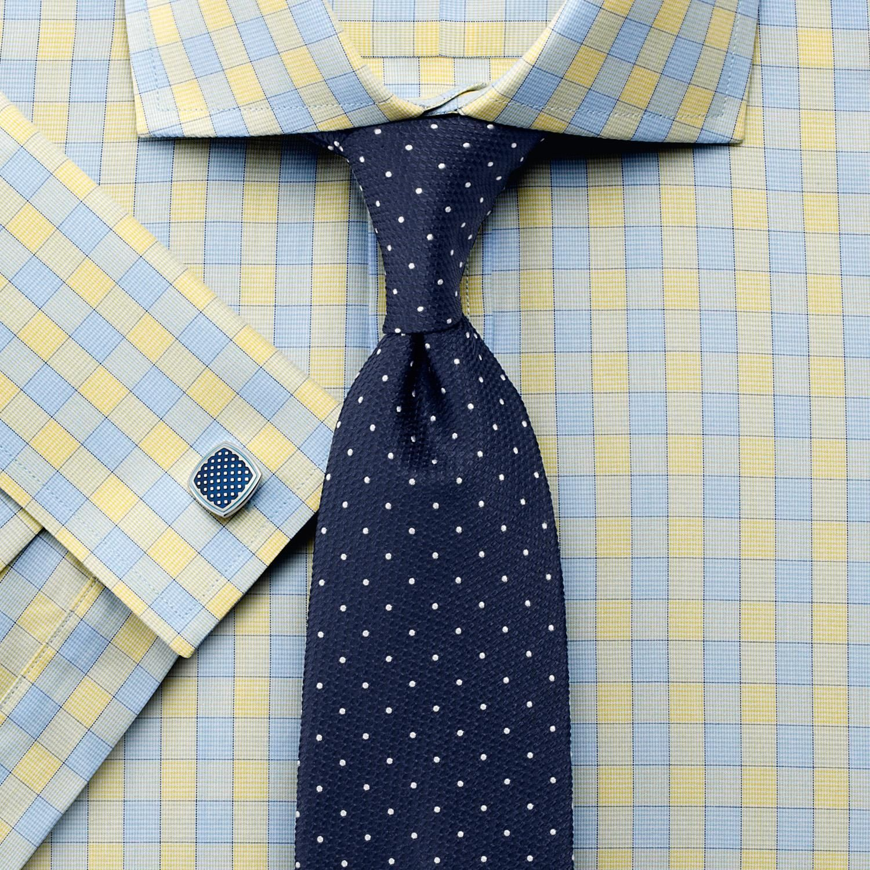 Yellow dress shirt men  Yellow city gingham cutaway Slim fit shirt  Gifts  Pinterest