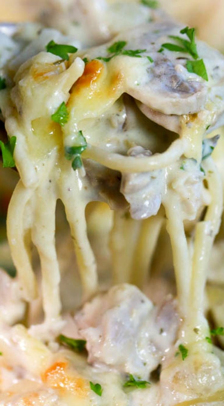 Turkey Tetrazzini ~ Tender turkey chunks, mushrooms and pasta are smothered in a rich and creamy sauce and topped with cheese.