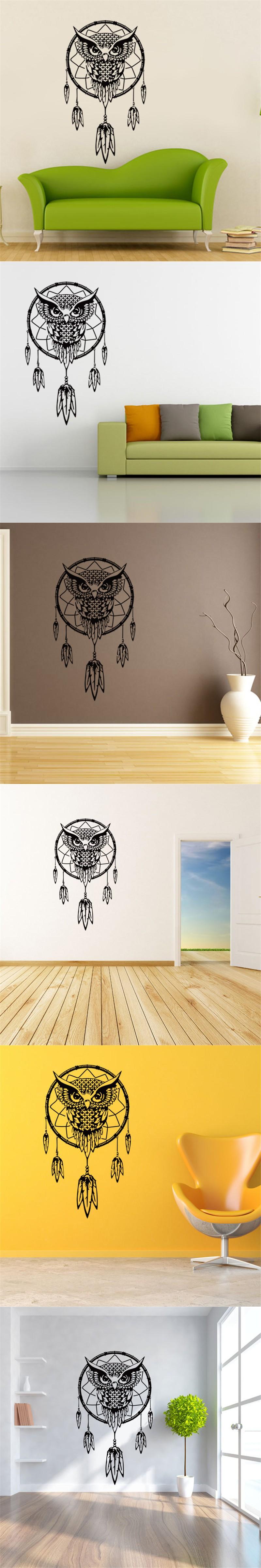 2016 Art Design Indian Dream Catcher Vinyl Owl home Decor Wall ...
