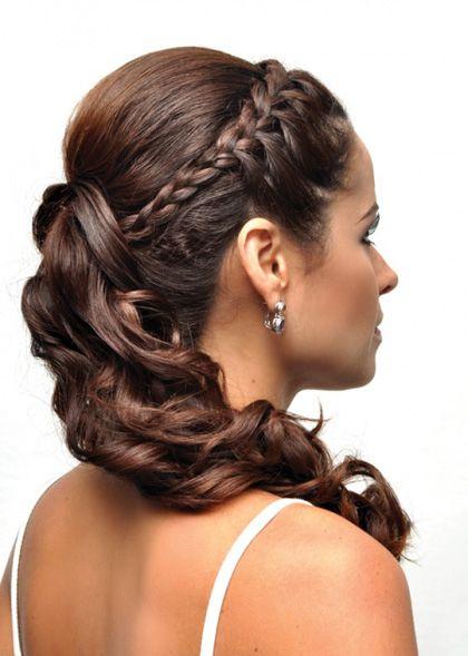 Pin De Laura Campos En Peinados Pinterest Cabello Trenzas Y - Peinado-semirecogido-con-trenza