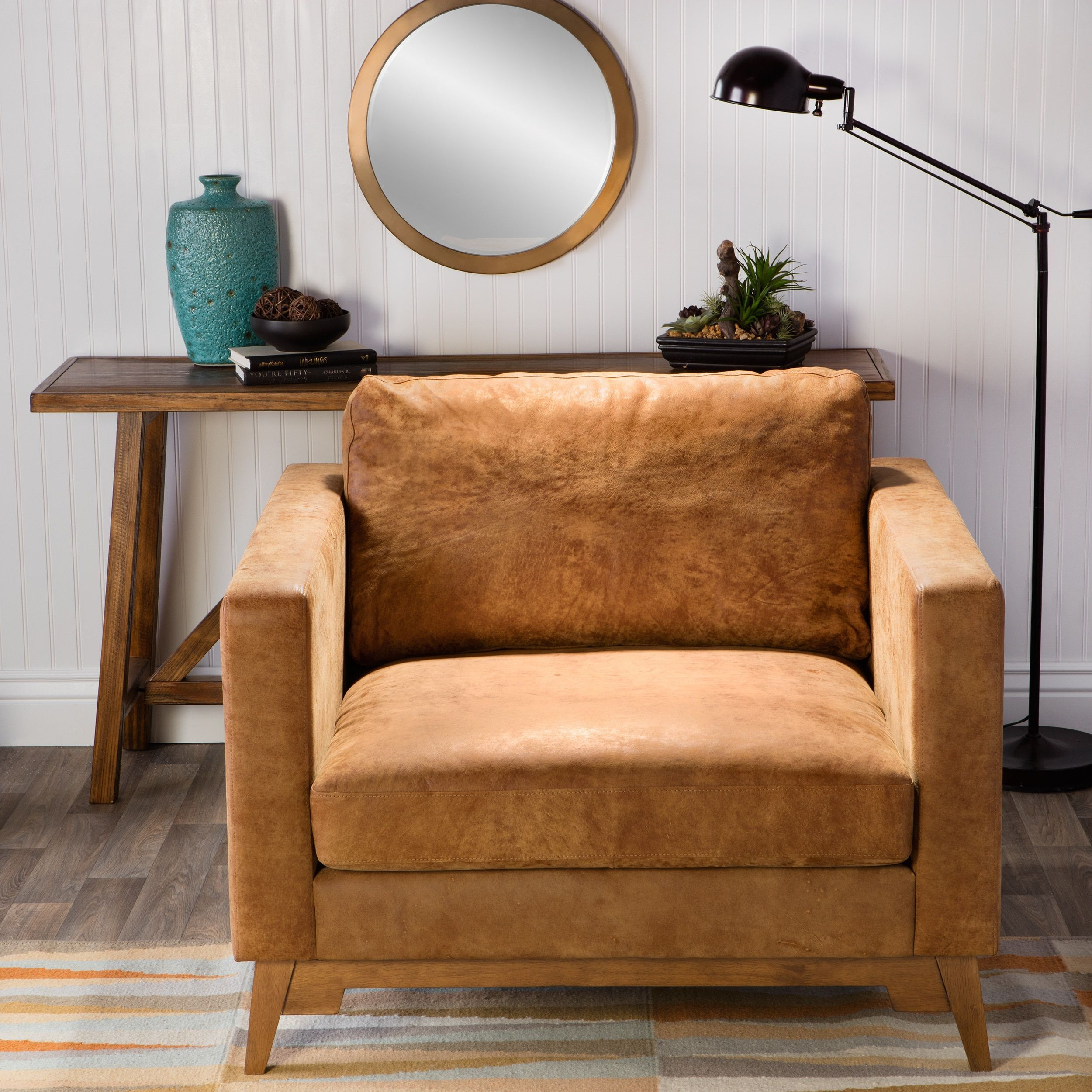 Exceptional Filmore Oversized Tan Italian Leather Club Chair, Brown (Foam)