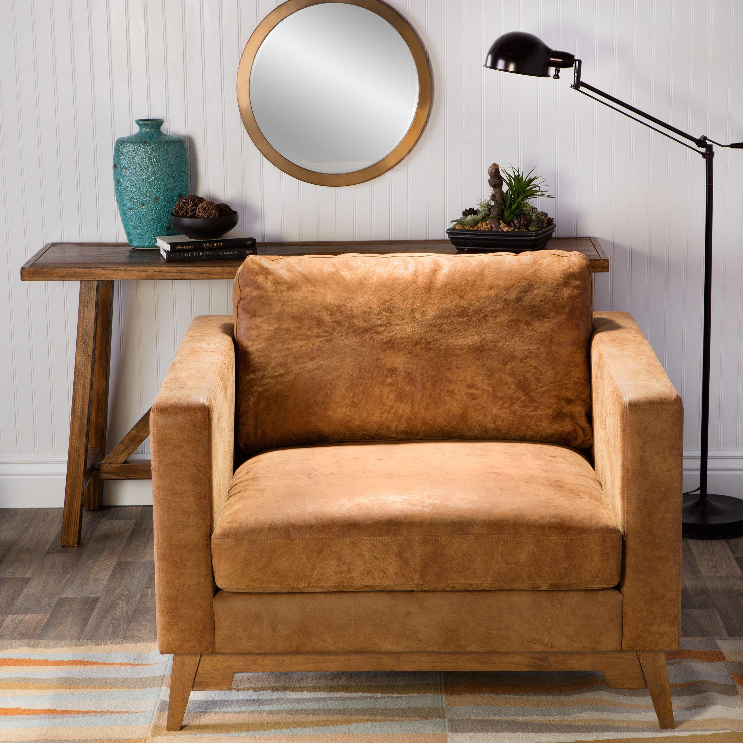 Filmore Oversized Tan Italian Leather Club Chair Brown Foam