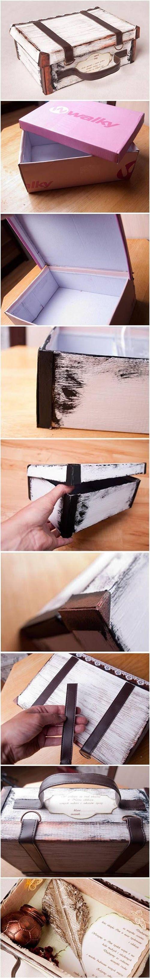 cr er une valise vintage avec une boite chaussures et une ceinture acheter. Black Bedroom Furniture Sets. Home Design Ideas